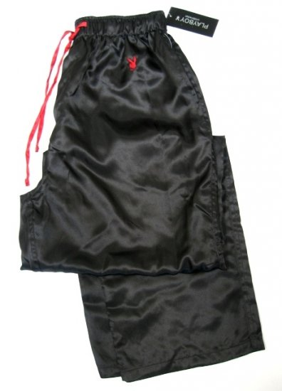 A0018 Playboy Men's Black Satin Lounge Pant MC04PL, SIZE MEDIUM