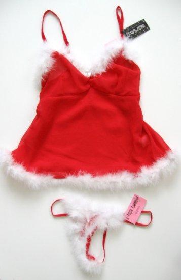 CHRISTMAS SANTA RED SHEER MESH CAMISOLE & THONG SET, SIZE MEDIUM