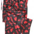 A0018 PLAYBOY BLACK/RED SATIN HEARTS & RABBIT HEAD LONG SLEEP PANT, MC05PL SIZE SMALL