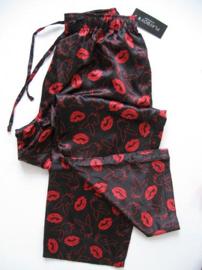 A0018 PLAYBOY BLACK/RED LIPS & RABBIT HEAD SATIN SLEEP PANT, PY02PL SIZE LARGE
