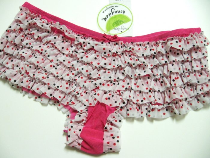 HONEYDEW PINK/BLK POLKA DOTS LACE MESH RUMBA M704, SIZE EXTRA LARGE