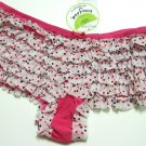 HONEYDEW PINK/BLK POLKA DOTS LACE MESH RUMBA M704, SIZE LARGE