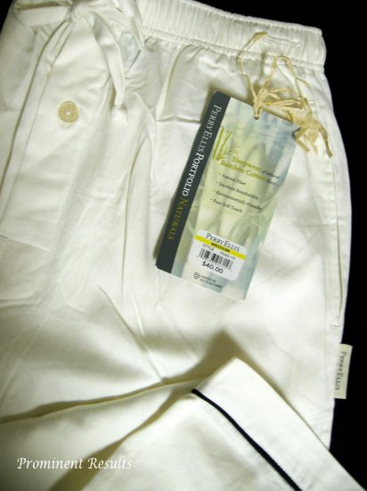 A0166 PERRY ELLIS WHITE BAMBOO COTTON SLEEP PANT 792400, SIZE LARGE