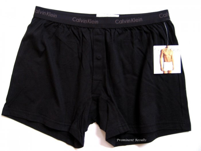 A0100 CALVIN KLEIN MEN'S BLACK BASIC KNIT BOXER U1049D, SIZE SMALL