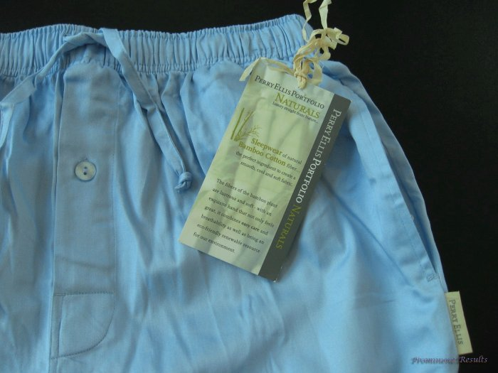 A0166 PERRY ELLIS BLUE BAMBOO COTTON SLEEP PANT 792400, SIZE LARGE