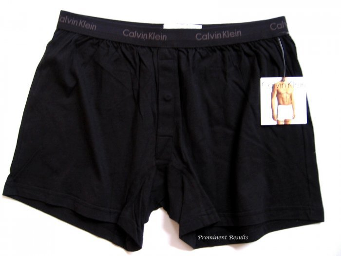A0100 CALVIN KLEIN MEN'S BLACK BASIC KNIT BOXER U1049D, SIZE EXTRA  LARGE