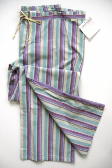 A386 CALVIN KLEIN PURPLE STRIPES WOVEN P J PANT S0665D, SIZE MEDIUM