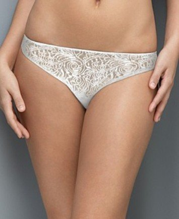 A0389 CALVIN KLEIN WHITE SHEER TATTOO LACE BIKINI D3093, SMALL