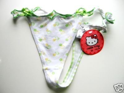 A0006 SANRIO WHITE/GRN HELLO KITTY HEAD STRETCH THONG SIZE MEDIUM NEW WITH TAG