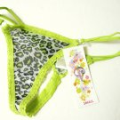 X0165 Classified Leopard Sheer Mesh w/Lace Trim Thong LIME  SIZE MEDIUM