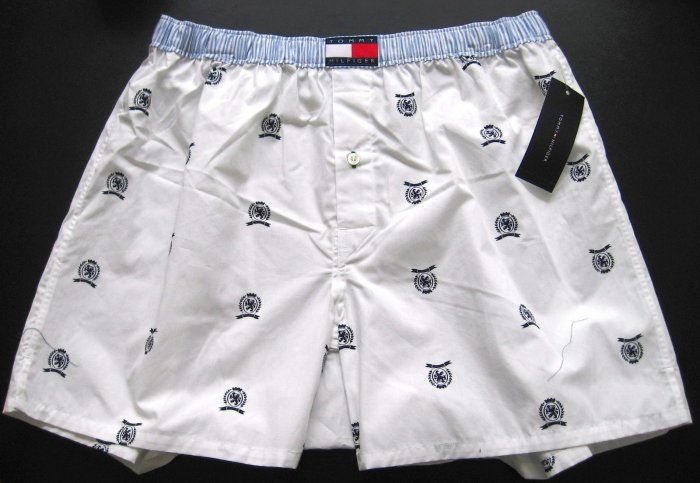 A0311 Tommy Hifiger Men's Woven Boxer U62612664 White Logo SMALL