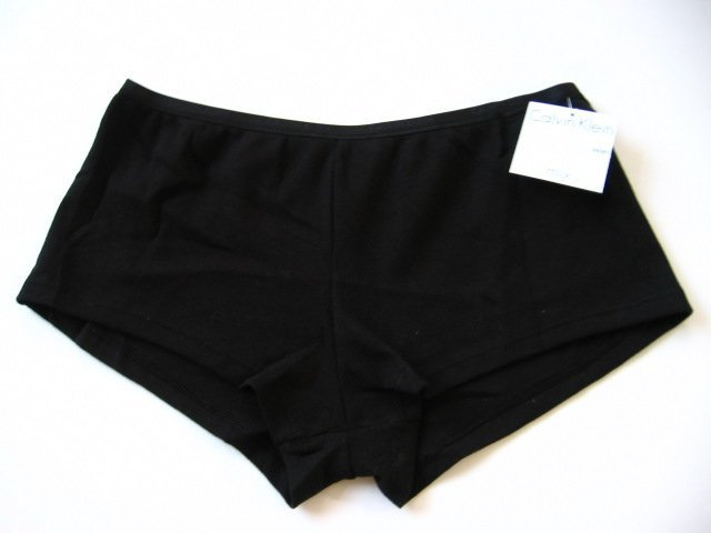 A0436 CALVIN KLEIN BLACK PURE COTTON MIX SHORT D1284, SIZE SMALL