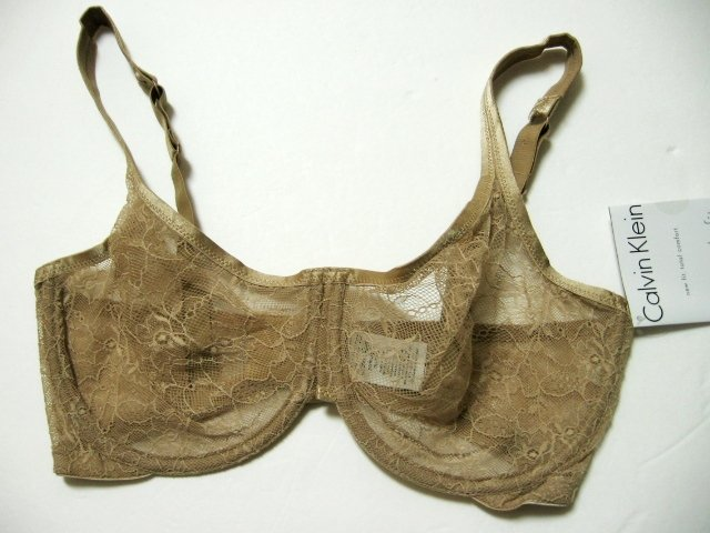 A0020 Calvin Klein All Day Lace Unlined Underwire Bra F2857 Dune SIZE 34C