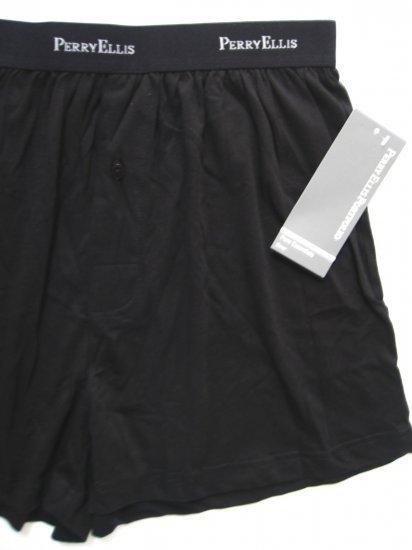 A0454 PERRY ELLIS MEN PREMIUM COTTON BOXER 933105 BLACK LARGE