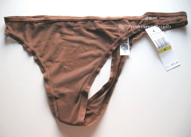 A232T NATORI White Label Soft Sheer Mesh Thong 150005D COCOA SIZE = MEDIUM