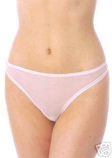 A232T NATORI White Label Soft Sheer Mesh Thong 150005D WHITE SIZE = LARGE