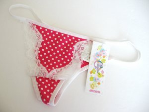 A0381 Classified Pink Cotton White Polka Dots With Lace Touch Thong Size = Small