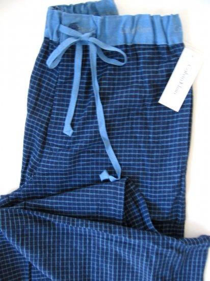 A0240 CALVIN KLEIN GRID FLANNEL LOUNGE PANT U5010D BLUE SIZE = SMALL