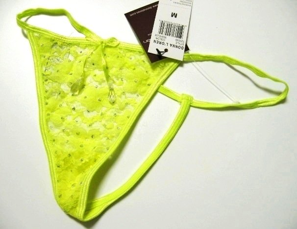 A0497 DONNA LOREN CRYSTALS FLORAL LACE G-STRING NEON SIZE = MEDIUM