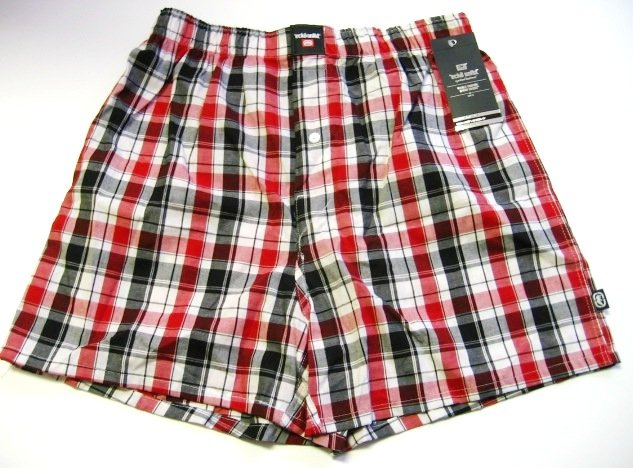 A0339 ecko unltd MEN'S RED/MULTI PLAID WOVEN BOXER SHORT 30S9, SIZE LARGE