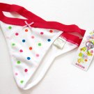 X166 Classified Rainbow Polka Dots Microfiber Thong White SIZE  Medium