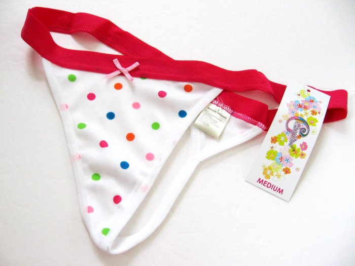 A0459 CLASSIFIED RAINBOW POLKA DOTS MF G-STRING WHITE SIZE LARGE