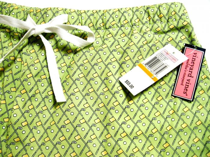 A0532 Vineyard Vines Lounge Pant CLUB & FLAGS 1LM8006 GREEN SIZE SMALL