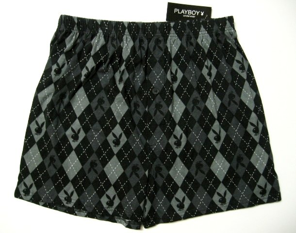 A0413 PLAYBOY DIAMOND BUNNY HEAD KNIT BOXER MK1MPL BLACK SIZE LARGE