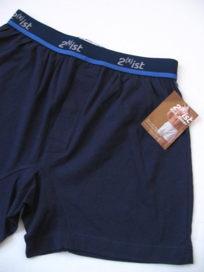 A0410 2(x)ist MEN'S PURE COTTON KNIT BOXER 1800  NAVY SIZE=SMALL