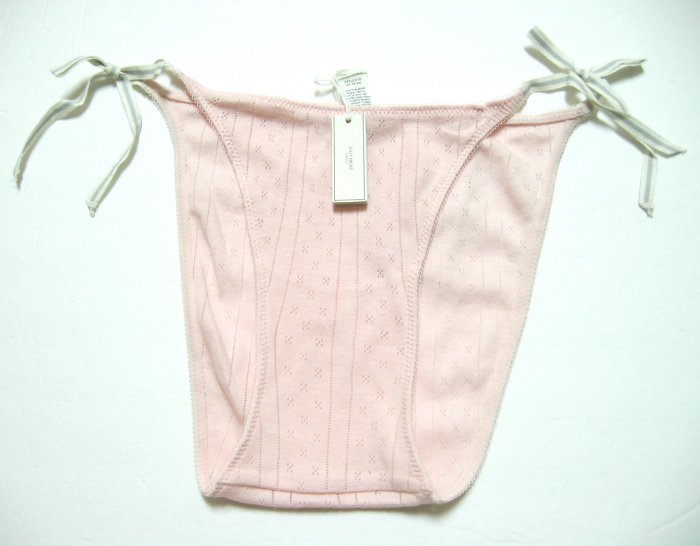 A295B ABERCROMBIE GILLY HICKS PINK THERMAL SIDE-TIES SKNNY BIKINI, SIZE LARGE