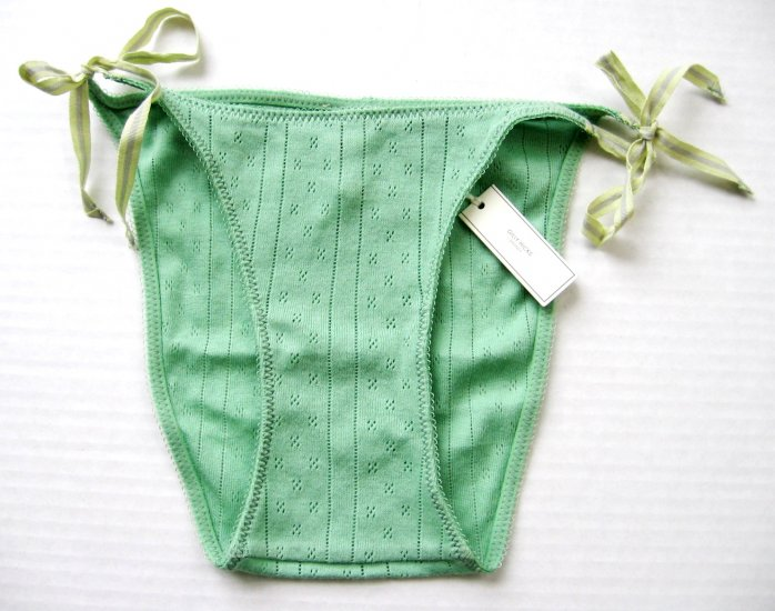 A295B ABERCROMBIE GILLY HICKS LIME THERMAL SIDE-TIES SKNNY BIKINI, SIZE SMALL