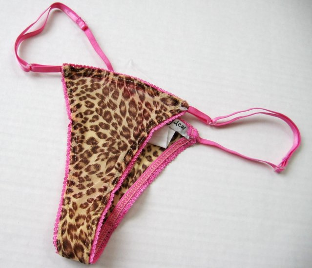 A0569 Honeydew Mesh Adjustable Thong 305L Pink Leopard FREE SIZE