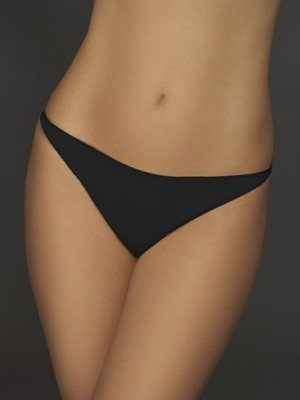 A0264 Le Mystere MICROFIBER LOW RIDE THONG 8355 BLACK, SIZE MEDIUM