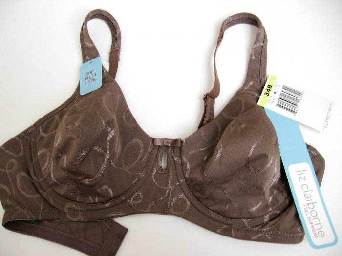 A0126 Liz Claiborne Plush Lining Shimmering Patterned UW Bra 8445 Cocoa SIZE 34D