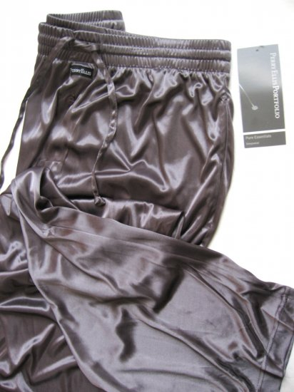 A368 Perry Ellis Pure Essentials Semi-Sheer Lounge Pant 804717 SILVER, SIZE LARGE
