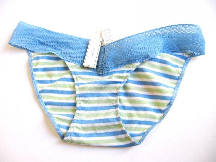 A129SB Abercrombie Gilly Hicks Sydney Lace Logo Cotton Skinny Bikini BLUE LINES S