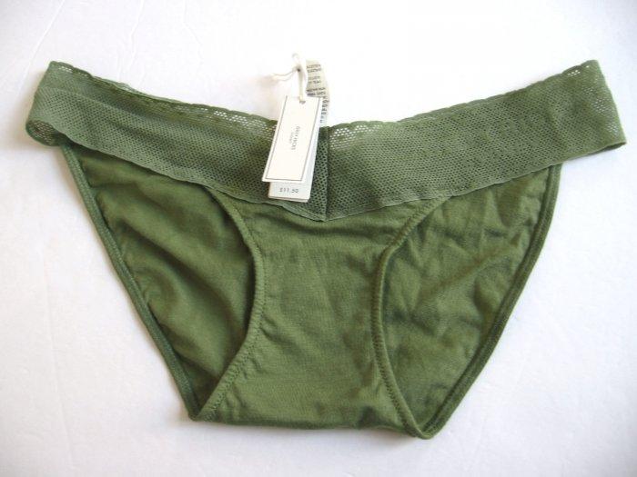 A129SB Abercrombie Gilly Hicks Sydney Lace Logo Cotton Skinny Bikini KIWI XS