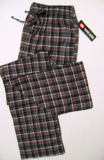A340-1 ecko unltd Woven Grid Lounge Pant EK09P1 BLK-RED Size MEDIUM