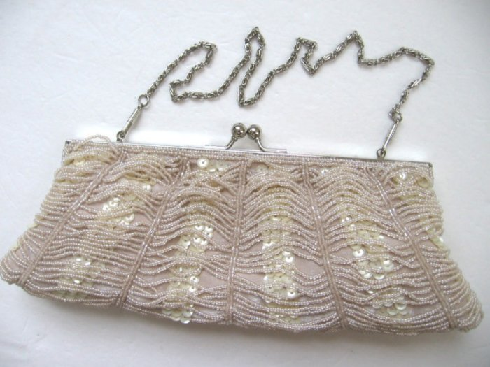 EB7 Ruche Pearly Sequins Beaded Evening Handbag Blk Chp