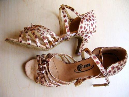 """Z3 Sale Moonlight Ladies Satin Dance Shoes 2.5"""" Leopard"""