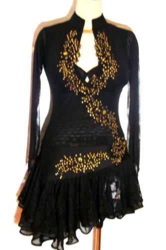LD002 RUCHE Blk Satin Mesh Gold Sequins Latin Dress S/M