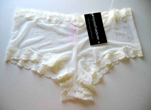 A0152 Eyeshadow Sheer Mesh Lace Accent Boyshort IVORY, SIZE Small (5)