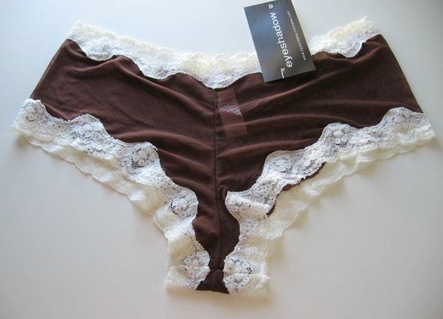 A0152 Eyeshadow Sheer Mesh Lace Accent Boyshort BROWN, SIZE XL (8)