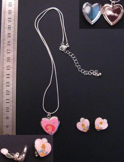 "Cute Pink Heart Shaped Locket Necklace 19"" & Earrings"