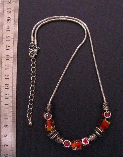 Bronze Slip Lampwork and Carved Charms Necklace,20.3""
