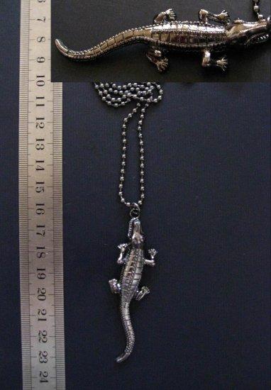 """Unique Long Black Crocodile Pendant Necklace, 29.5"""""""
