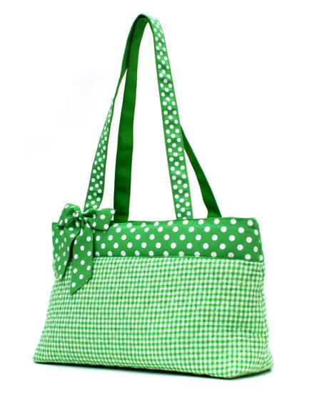 QUILTED GREEN GINGHAM HANDBAG