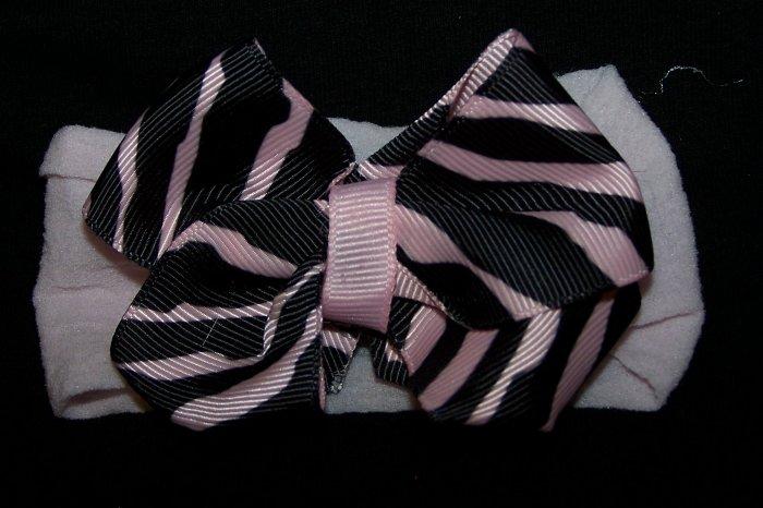 Zebra Bow Nylon Headband