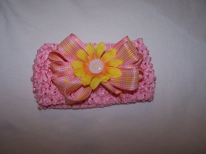 Pink/Yellow Bow Headband