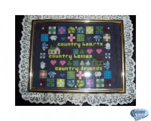 'Country Hearts, Homes, Friends' Completed Framed XSt